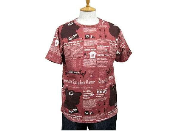 サルト×カープ 英字新聞プリント半袖Tシャツ